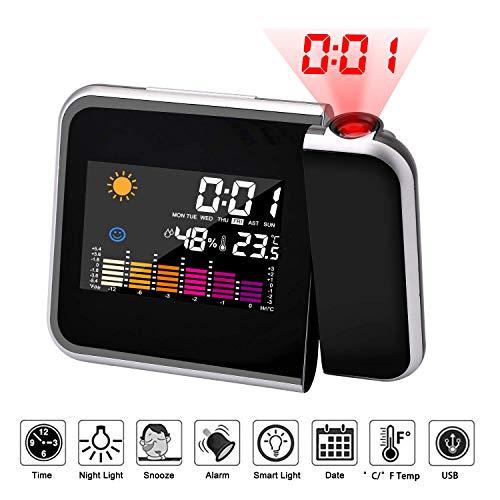SOLUCKY Digitale Projektionswallade-Uhr mit Wetterstation, Innenraum-Thermometer, USB-Ladegerät, Dual-Alarm-Uhren für Schlafzimmer, Klimaanlage & Batterie betrieben (Batteriebetrieben Duale Wecker)