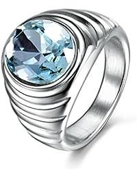 masop 316L anillo de declaración de los hombres de acero inoxidable azul color aguamarina CZ piedra plata tono
