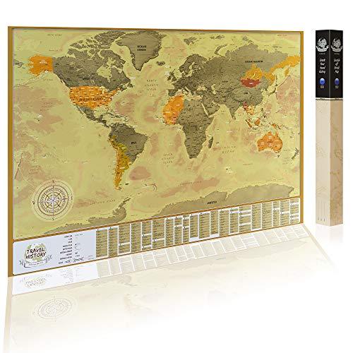 Detaillierte Rubbel Weltkarte mit Fahnen (Englisch) XXL Personalisiertes Poster zum Reisen zu verfolgen. Original Geschenk für den Reisenden. Einzigartiges Design von 2Maps (Schwarz/Silber 84 x 57cm) -