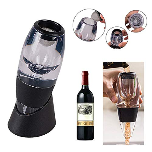 Flyes Aérateur de vin à décanter magique pour décanter le vin 14.5 cm Noir