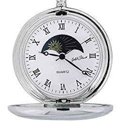 Jakob Strauss Silvertone Sun & Moon Gents Pocket Watch + 12 Inch Chain JAST09