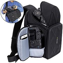 Endurax Sacoche pour appareil photo Sling pour appareil photo reflex numérique avec séparateurs personnalisables pour objectif long et étanche pour Canon Nikon Sony Pentax