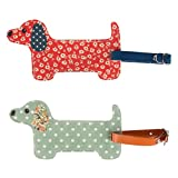 FLORAL FRIENDS DACHSHUND LUGGAGE TAG ASSORTED (1 SUPPLIED) (Green Spotty)