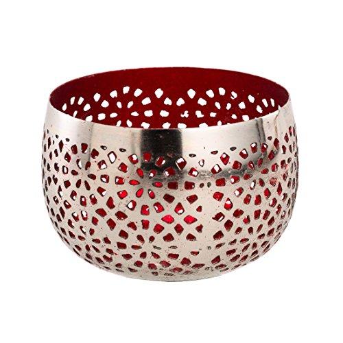 Sphärenlicht LILLE - rot /silber - Teelichthalter - Leuchtschale m. Ornament - Windlicht aus Metall (12x8 cm) (Metall-schale Tafelaufsatz)