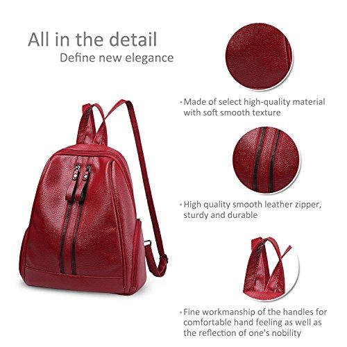 Nicole & Doris Fashion School Borsa Da Viaggio Borsa Da Viaggio Borsa Da Spalla Daypack Borsa Da Donna Zaino Pu In Pelle Vino Rosso Vino Rosso