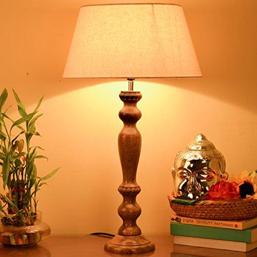 Homesake Eureka Polka Natural Wood Table Lamp With Khadi Shade