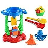 Newin Star 6pcs Sandpits sabbia giocattoli, giocattoli per bambini Baby Beach sabbia Sandbeach Beach Sand Toys set con mesh bag, giocattoli Sandbox Sand ruota e Sand stampi