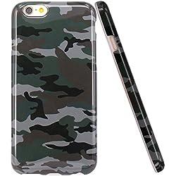 iPhone 6 Funda, JIAXIUFEN Funda de Silicona Suave Case Cover Protección cáscara Soft Gel TPU Carcasa Funda para Apple iPhone 6 6S - Verde Camuflaje Diseño