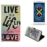 Pour Smartphone Huawei Honor 6X Case 360° Cover 'live the life you love' Fonction Stand Wallet BookStyle Housse Protection Sac Étui Couvervle pour Huawei Honor 6X meilleur prix, la meilleure performance - K-S-Trade(TM)