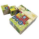 PROW® 9 Pcs Wooden Cube Block Puzzle Puzzles Transport Fahrzeuge Puzzle Aufklärung Spielzeug Bausteine Stimulieren Kind Phantasie und Kreativität Für kleinkind jungen und mädchen