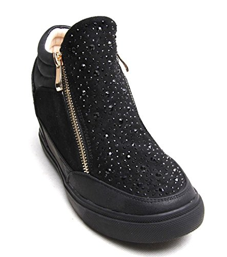 Womens Mesdames Diamante formateurs Chaussures Cales or Zip Baskets Casual Talon Zip Noir - noir