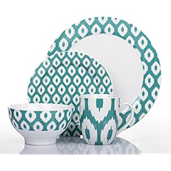 16 Piece Ikat Teal Dinner Set  sc 1 st  Amazon UK & 16 Piece Ikat Teal Dinner Set: Amazon.co.uk: Kitchen u0026 Home