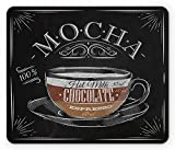 Coffee Mouse Pad, Mocha Cup Hot Chocolate Espresso Old Fashioned Italian Chalkboard Design, Standard Size Rectangle Non-Slip Rubber Mousepad, Black Brown Pale Grey