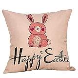 VRTUR Easter Huevo Algodón Square Rabbit Funda de Almohada Cintura Cojín Cubierta Decoración para el Hogar(45 * 45cm,U