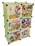 Regalsystem Kleiderschrank Regal Kinderzimmer Garderobe Kindermöbel Schrank (6er grün)