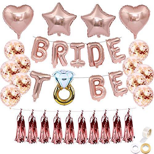 Juland JGA Deko Ballons Rosegold 16 Zoll Bride to BE Folienballons Luftballons Brautdusche Bachelorette Party Dekoration Diamant Ring 12