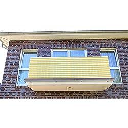 0,9 x 14 meter, Gelb&Weiß Streifen PE Balkonsichtschutz, Balkonverkleidung, Windschutz, Sichtschutz und UV-Schutz für Balkon, Gartenanlagen, Camping und Freizeit (0,9 x 14 meter, Gelb&Weiß Streifen)