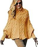 Mikos*Eleganter Damen Poncho Rollkragenpullover Damen Pullover Strickponcho Cape Zopfstickmuster Warm Herbst Pullover (641) (Curry)