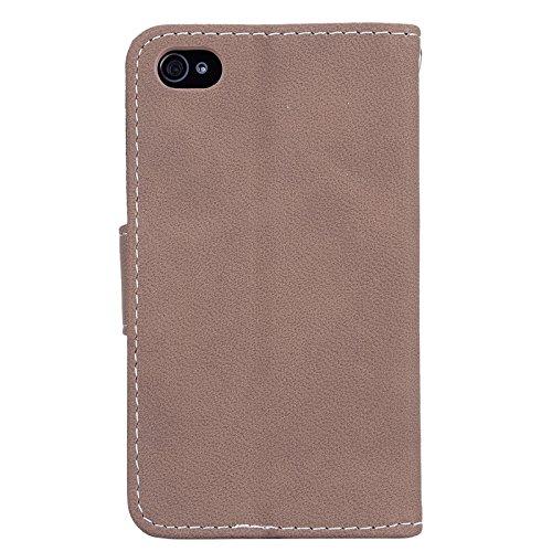 Für iPhone 4 / 4s, Yokata Flip Leder Hülle Magnetverschluss Vintage Luxury Matt Tasche mit Kartenfach und Standfunktion Case Brieftasche - Braun 2 Braun 2