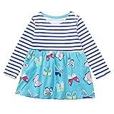 UOMOGO Bambine e Ragazze T-Shirt Vestito con Papillon Gatto Carino Top 2-6 anni