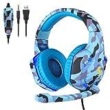 KuerqiK15 Surround-Sound, Gaming-Headset für PS4 Xbox One PC Mac Controller Gaming-Kopfhörer mit Kristall-Stereo-Bass-Surround-Sound, LED-Licht und Geräuschisolierungs-Mikrofon, Kuerqi, blau