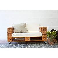 REMAKED Sofa Palet 120X80 Barniz (Incluye Ruedas y Colchonetas)