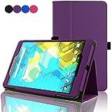 ACdream BQ Edison 3 mini 8 inch Protective Case, Folio Premium PU Leather Cover Case for Bq Edison 3 mini 8 inch tablet, Dark Purple