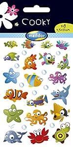 Maildor Cooky autocollants d'animaux marins 17,5cm x9cm x0,1 cm.