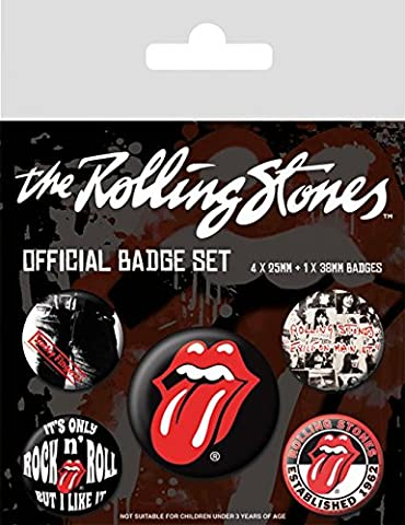 Rolling Stones (Classic) 5 Piece Pin Badge Pack Official Licensed Merchandise