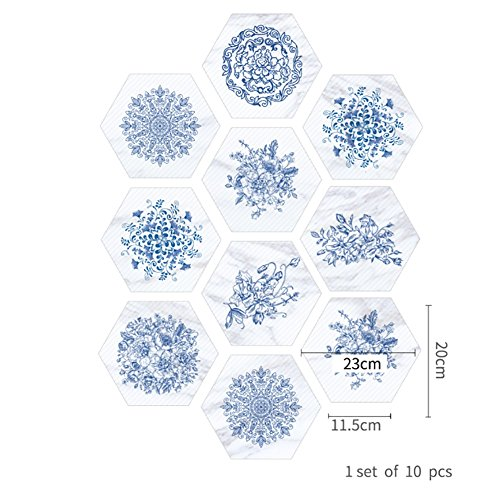 Porzellan-fliesen-böden (CHUANQIHF Blaue und weiße Porzellan Marmor Fliesen Boden Badezimmer Badezimmer wasserdichte Wandaufkleber, B)