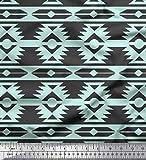 Soimoi Grun Baumwolle Batist Stoff Ikat geometrisch Dekor