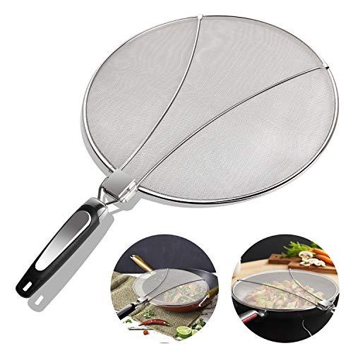 Miya Edelstahl Spritzschutz für Pfannnen,Spritzer-Schirm-Schutz Mit Silikon-Klappgriff für viele Töpfe Pfannen Praktische Küchen Bratpfanne Öl Proofing Deckel