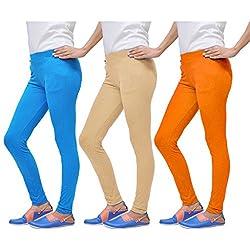 1LY GARMENTS, WOMENS SUPER SOFT LEGGINGS IN COTTON LYCRA COMBO PACK OF 3 (TURQ, SKIN, ORANGE)