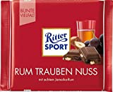 RITTER SPORT Rum Trauben Nuss (12 x 100 g), Vollmilchschokolade mit echtem Jamaika-Rum, fruchtigen Trauben und Nussstückchen, Schokolade mit Rum-Aroma