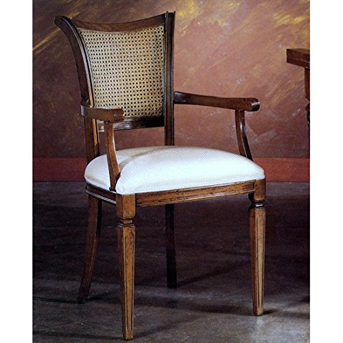 Estense - sedia poltrona imbottita con paglia di vienna - h1155