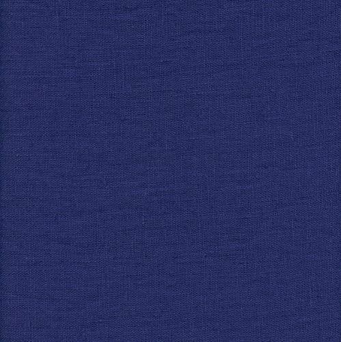 Textiles français 100% Leinen Stoff aus Frankreich mit weichem Griff (gewaschenes Leinen) - Indigo Blau - Breite: 145 cm (Meterware) -