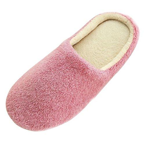 SAGUARO® Erwachsene Plüsch Hausschuhe Winter Wärme Indoor Pantoffeln Home Rutschfeste Weiche Leicht Baumwolle Slippers für Herren Damen Rosa