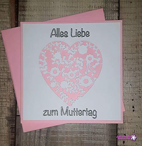 "Muttertagskarte\""Herz (rosa)\"" (13,5cm x 13,5cm)"