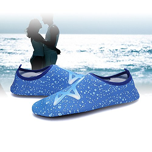Xinyi (Aqua à l'eau Chaussures de plage de natation Séchage rapide Slip on Chaussures de yoga Chaussettes de peau pour Unisexe, Tissu, noir 1, 3XL43-44 Blue StarA