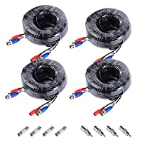 ANNKE 4 Pack 30M 100 Feet BNC Video Power Cable Security Camera Cable for CCTV Surveillance DVR System Installation, Free BNC RCA Connector Included