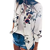 iHENGH Neujahrs Karnevalsaktion Damen Herbst Winter Bequem Lässig Mode Frauen Retro Floral Zipper Up Bomberjacke Mantel Outwear