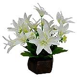 #6: Thefancymart Desktop artificial Lilly Flower arrangement with wood pot (8 inchs/20 cms)