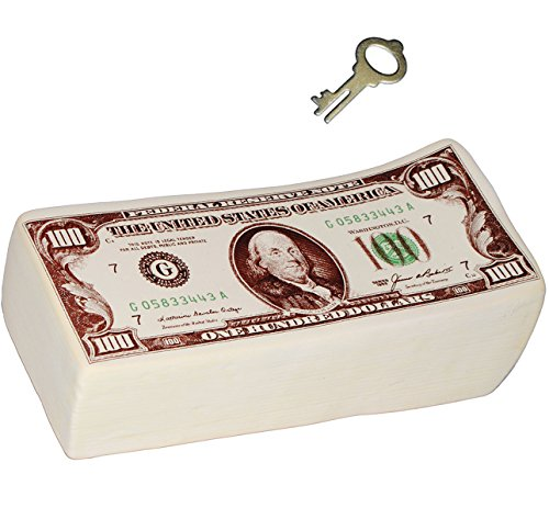 alles-meine.de GmbH Große Spardose -  Bündel mit 100 Dollar - Scheine  - Incl. Schlüssel und Sch.. (Geld-scheine Lustige)