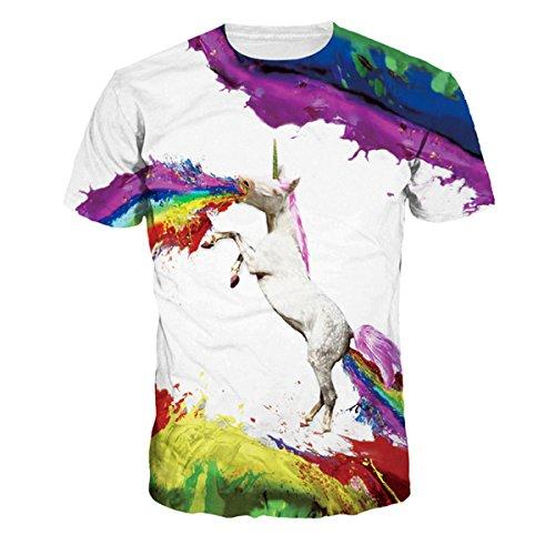 SEVENWELL Unisex 3D Gedruckt Crewneck Kurzarm T-Shirt Top T Digital bedruckte Tops (Einhorn Tag XL=US L) (Crewneck Herren Grafik T-shirt)