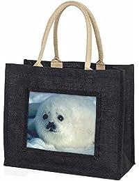 Snow White Sea Lion Large Black Shopping Bag Christmas Present Idea