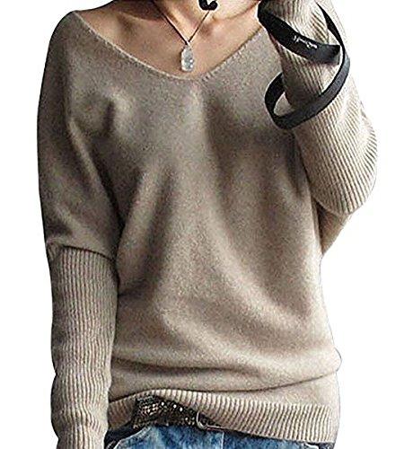 Shallgood Damen Mode Kaschmir Sexy Langen Ärmel V Ausschnitt Fledermaus Flügel Herbst Und Winter Pullover Casual Lose Pulli Khaki DE 34 -
