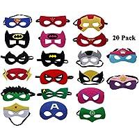 UCLEVER 20 Piezas Máscaras de Superhéroe para Niños Fieltro de Ojos Medias Fiesta Máscara para Fiesta Mayores de 3 Años