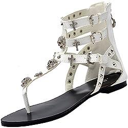 Odema sandalias planas de verano con forma de T correa con decoración de calaveras y cruz para mujer