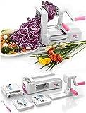 WonderEsque - Premium Qualität - Spiralschneider für Gemüse spaghetti - Spiralizer Zucchini Gemüseschneider - Mit 3 Schneideeinsätze - Mit Reinigungsbürste - der beste Gemüse-Pasta-Schneider - Das Original