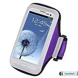 Premium Tischläufer/Laufen Sport Armband Schutzhülle für Samsung Galaxy, S6 Rand// S5/S6 S5 Active/S4 Active/S4/S3 Mini/E5/A5/Alpha, LG G4, G3/G2/510/Desire/HTC One/One/One M8 M9 E8, iPhone, 6 Violett MYNETDEALS Mini-Stylus-Eingabestift)